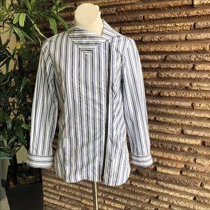 Finley Blue Striped Side Zipper Stretch Cotton Top